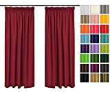 Rollmayer 2er Pack Vorhänge mit Bleistift Kollektion Vivid (Weinrot 13, 135x175 cm - BxH) Blickdicht Uni einfarbig Gardinen Schal für Schlafzimmer Kinderzimmer Wohnzimmer 2 Stück