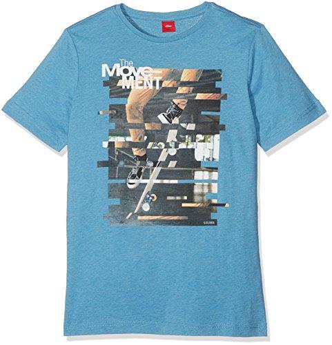 s.Oliver Jungen T-Shirt 61.708.32.7375, Blau (Petrol Melange 64W0), 164 (Herstellergröße: L/REG)