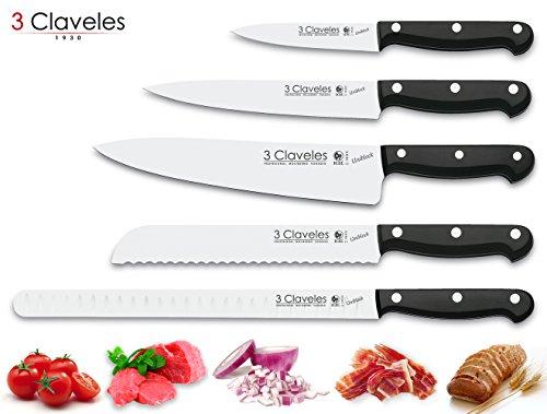 3 Claveles Juego de 5 Cuchillos Profesionales de Cocinero Selección Master Chef Serie Uniblock en Acero Inoxidable de Alta