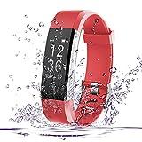 Fitness Tracker, AmyTech Aktivitätstracker mit intergrierter Herzfrequenzmessung Pulsuhr IP67 Wasserdicht Smart Armband für Android und IOS Smartphones (Rot)
