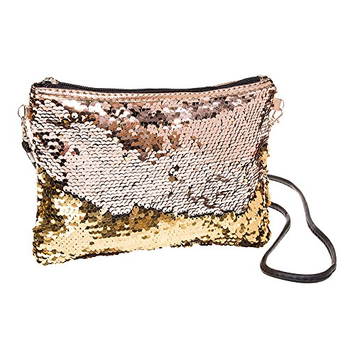 Blue Banana Two Way Pailletten Clutch Tasche (Gold) (Handtasche Pailletten-clutch)