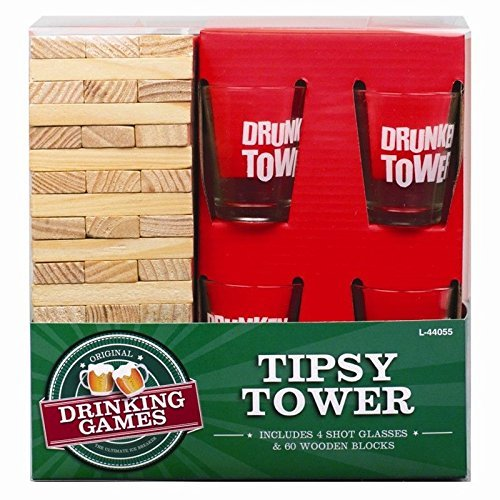 Invero Madera Borracho Drunken Torre Partido Adulto Bebidas Juego con 4x Vasos De Chupito Regalo Novedad