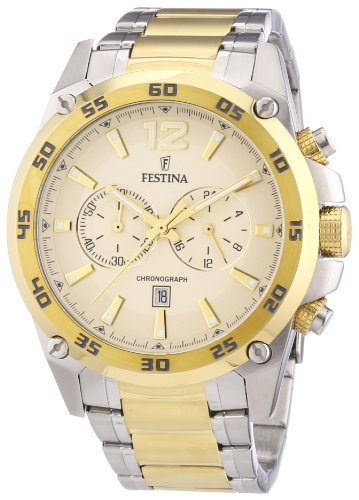 Festina Men's Quartz Watch with Gold Dial Analogue Display and Two Tone Stainless Steel Bracelet F16681/1