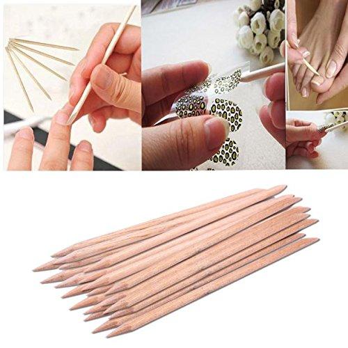 hahuha Schönheit sprodukte für Erwachsene,20 stücke Nail Art orange Holz Stick nagelhautschieber entferner pediküre maniküre Werkzeug