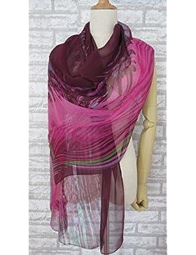 Uva de mujer 100% seda arruga bufanda larga
