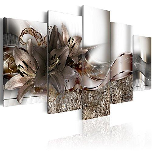 murando - Bilder 100x50 cm Vlies Leinwandbild 5 TLG Kunstdruck modern Wandbilder XXL Wanddekoration Design Wand Bild - Blumen Lilien Abstrakt b-A-0273-b-o