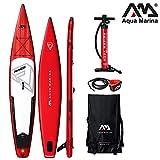 Aqua Marina BT-19RA01 Race-Racing iSUP, 3.81m/15cm, with Safety Leash, red, White, 381 x 66 x 15