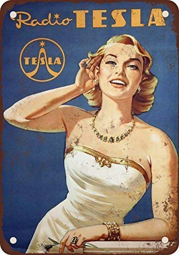 Jesiceny Blechschild 1941 Tesla Radios Vintage Look Reproduktion Aluminium Metallschild 20,3 x 30,5 cm 8X12 inch K40 K40 Radio