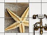 Fliesenmuster Deko-Folie | Fliesen-Folie Sticker Aufkleber selbstklebend Badezimmer renovieren Küche Dekoration Küche | 20x25 cm Design Motiv Starfish - 4 Stück