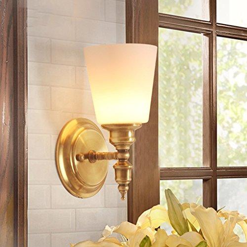 LYLQQQ Spiegelfrontleuchten, American Village alle Bronze Marmor Wandleuchte Wohnzimmer Schlafzimmer Nachttischlampe Spiegelfrontleuchte Europäischer Stil Einfache Restaurant Einzelne Kopf Wandleuchte - Trocken-milch-bad