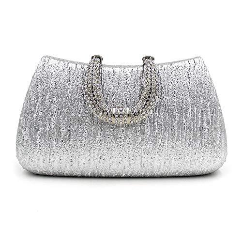 Förmige Handtasche (SHMILY Handtasche, Diamant Gefüllte U-Förmige Schnalle, High-End-Dinner-Tasche, Party-Kleiderbeutel,Silver)