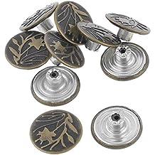 Boton de vaquero - TOOGOO(R)Tono de bronce Remache Botones Tachuela de metal de patron de hoja 10 piezas para pantalones vaqueros