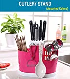 #8: TIED RIBBONS Kitchen Cutlery Stand Storage Organizer - Spoons, Knife & Fork Holder (Red)