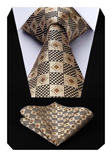 Hisdern Extra Long Check Krawatte Taschentuch Herren Krawatte & Einstecktuch Set Weizen & Burlywood & Gold Check-krawatte Tie
