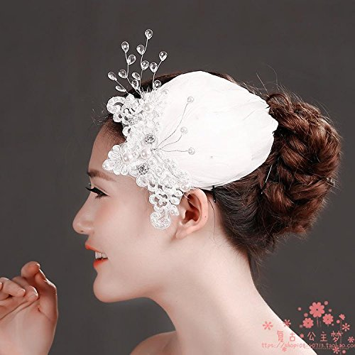 Olici Bridal Wedding Headwear/Prom Hair Pins/Headdress Accessories/Party/Girls Retro Lace And Flowers In Hand Pearls Crystals Feather Edge Clips Small Ball Hat Dress Accessories
