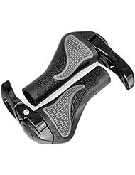 Foxnovo Ergonomique VTT Mountain Bike cycliste par poignées de verrouillage anti-dérapant Ram corne Bar guidon fin - une paire (noir)