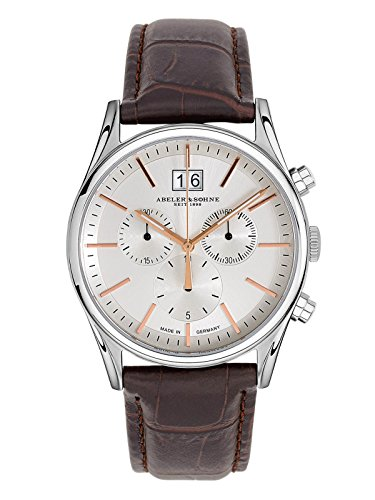 Abeler & Söhne–Made in Germany–Orologio da uomo con cronografo, Vetro Zaffiro e cinturino in pelle as3239