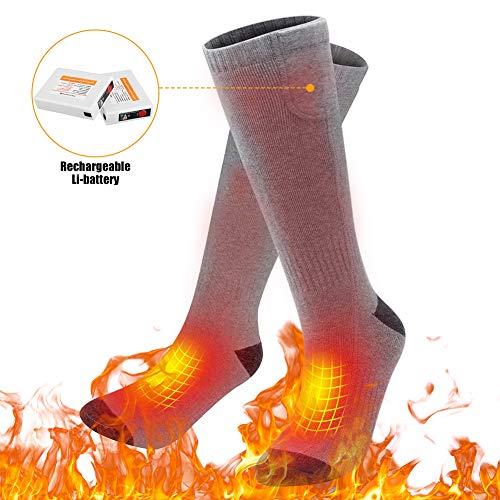 Elektrisch Beheizte Socken Wiederaufladbar mit 3 Dateien Einstellbarer Temperatur, Beheizbare Kniestrümpfe für Herren Damen, Winter Fußwärmer für Outdoor Ski Wandern Motorrad Jagd Schneebälle, Grau