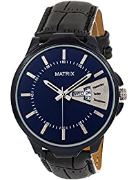 Matrix Silvermine Analog Blue Dial Wrist Watch Day And Date Display For Men & Boys- (DD-BL-LTH1)