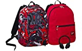 Zaino SEVEN THE DOUBLE - FLAME - Nero Rosso - cuffie stereo Soft Touch! 2 zaini in 1 REVERSIBILE