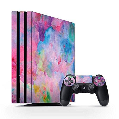 Sony Playstation 4 Pro Folie Skin Sticker aus Vinyl-Folie Aufkleber malerei Tie Dye Bartik Tie Dye (Pro Tie Dye)
