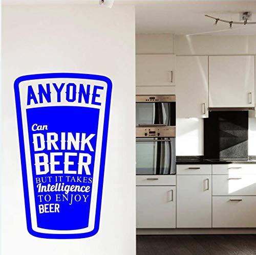 Wandtattoo Vinyl Aufkleber Alkoholische Intelligenz Tasse Bier Wanddekoration Wohnzimmer Kunst Design Schlafzimmer Zitat Decor DIY 57x34 cm