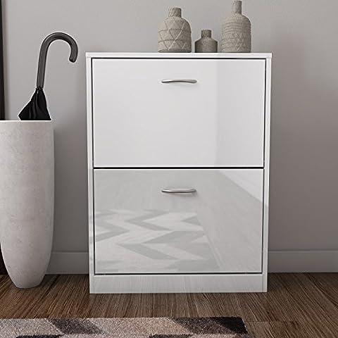 Torino 2 Drawer Shoe Cabinet in White High Gloss -6 Pairs