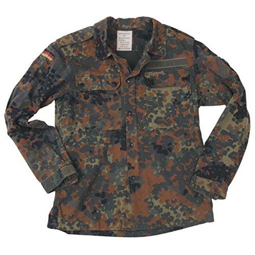 Originale langärmlige Feldbluse der Deutschen Bundeswehr Farbe lecktarn oder Tropentarn Größen 1-20 + 58-66 (18, Flecktarn) (Jagd-shirt Moleskin)