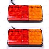 2 x 12V 4 Draht Auto Hintere Bremsleuchten Rückleuchte Rücklicht Universal für LKW KFZ Anhänger Traktor Wohnwagen Van Truck Camper Boot von Discoball