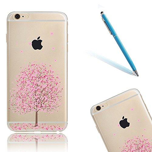 """iPhone 7Plus Hüllen, 5.5"""" Apple iPhone 7Plus (Nicht iPhone 7) Klar mit Muster Softcase, CLTPY Ultra Dünn Kirschblüten Malereifarbig Silikon Schale mit Bling Glitzer Diamant, [Kratzfeste] & [Stoßdämpfu Rosa Kirschbaum"""