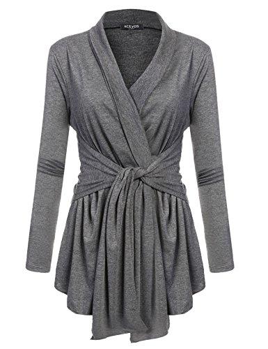 Beyove Damen Cardigan Offener V-Ausschnitt Wasserfall Strickjacke Strickmantel Sweatshirt Langarmshirt Mantel Tops Outwear einfarbig Ausschnitt Mantel