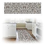 ChasBete 30 x 360cm Anti-Rutsch Wasserdicht Sicherheitsboden Aufkleber Dünne PVC Boden Decor Aufkleber für Küche Bad Dusche Fußmatte, 3D Fliesen Ziegel