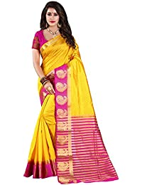 Nirja Creation Cotton Silk Saree With Blouse Piece (NC-OD-MANGO-02_Yellow_Free Size)
