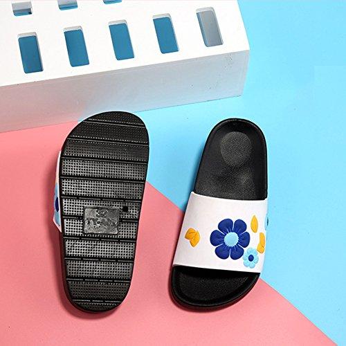 Gloria JR Bunte Blumen Hausschuhe Slipper Duschbad Schuhe Für Kinder Kinder Mädchen Weiß(White)