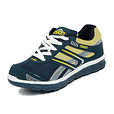 Asian shoes Zoom-1013 Navy Blue Yellow Mesh Kids Shoes 5UK/Indian