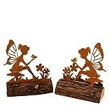 Trauer-Shop Elfen Figuren auf Baumstamm. Höhe 13cm. 2 Stück.