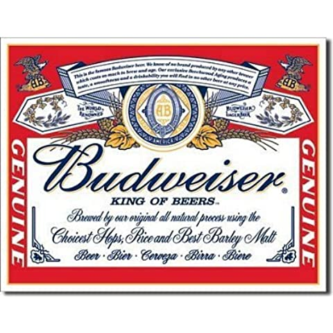 TIN Sign Budweiser - Label by Poster Revolution
