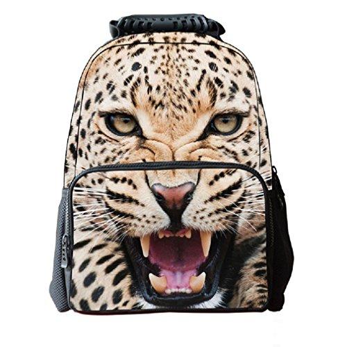 "HIMI Mochila de estampado 3D Animals para niños con compartimento portátil Bookbag Cheetah amarillo 16"""