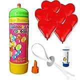 10 Herz Luftballons freie Farbwahl mit Helium Ballon Gas Hochzeit Valentinstag Komplettset + Gratis Doriantrade Seifenblasen (Rot)