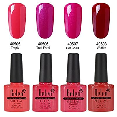 Belen 4PCS Macaron Soak off UV Gel Polish Nail Starter Kit Varnish Salon Set C005