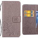 Ougger Handyhülle ASUS Zenfone 4 Selfie Pro ZD552KL Hülle Tasche, Kunst Blatt BriefHülle Schale Schutzhülle Leder Weich Magnetisch Silikon Cover Schale für ZD552KL mit Kartenslot (Grau)