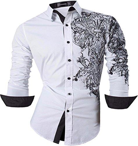 Sportrendy Herren Freizeit Hemden Slim Button Down Long Sleeves Dress Shirts Tops JZS048 White XL - White Formal Dress