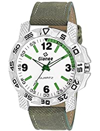 GIONEE MRT-019 Analog Dual Tone (White & Greeen) Casual Wrist Watch For Men With Durable Leather Stripe.