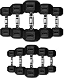 TNP Accessories Rubber Hexa Hex Dumbbells (Pair)Weight Set Solid Dumbbell (35KG)