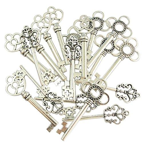 30 Stück Retro Bronze Schlüssel Anhänger Schmuck Steam Punk Deko Für Halskette Kette (Silber)