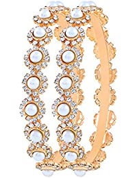 Asmitta Attractive Party Wear Gold Plated Austrian Stone Bangle Set For Women