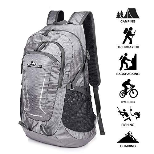Loocower 45L Leichte Packable Reiserucksack Wanderrucksack, Multifunktionale Tagesrucksack, Faltbare Camping Trekking Rucksäcke, Utra Leicht Outdoor Sport Rucksäcke Tasche (06.Grau) -