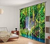 H&M Gardinen Vorhang Dschungel-Wasserfall eine warme Schatten Tuch UV dekorative Fenster 3D-Druck Vorhänge im Schlafzimmer fertig, Wide 2.03x high 2.13