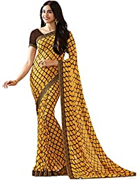 KAMELA SAREE women's silk material Yellow colour Printed Party wear saree With Blouse