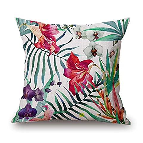 MaxG Home Decor Cotton Linen Tropical Palm Leaves Flowers Plants Square Throw Pillow Cases Cushion Covers For Sofa Bed 18X18 inches
